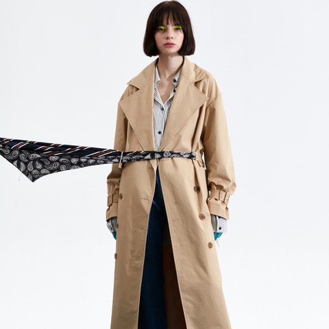 SCARF BELTED TRENCHCOAT